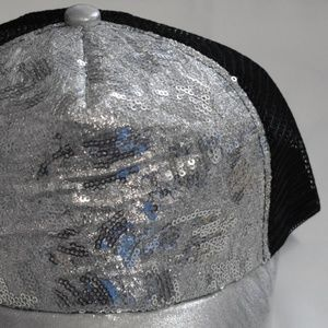Silky Silver Glitter Sparkly Sequin Baseball Hat